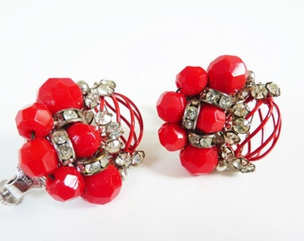 Vintage Rhinestone Earrings in Electric Red with Clear Crystal Stones and and Silver Metalwork by Vendome