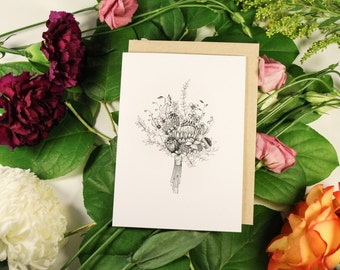 Hand Drawn Blank Floral Greeting Card- Spring Bouquet