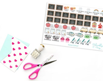 Kawaii Grade School Planner Stickers for Erin Condren, Plum Planner, Inkwell Press or Filofax Planners