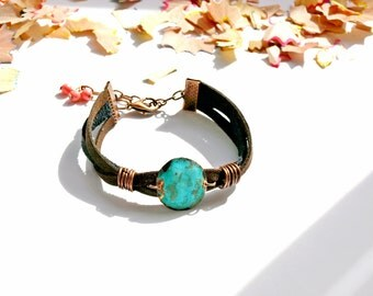 Turquoise bracelets Wrapped jewelry Copper jewelry cuff Adjustable bracelet gift Rustic copper jewelry Suede bracelet copper Women girl gift