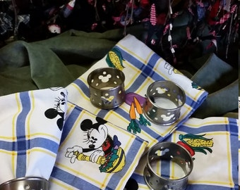 Disney 4 pc. Heavy Cotton Napkins with Pewter Holders