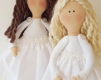 Handmade keepsake doll in white Baptism dress, 9 inch tall, one of a kind custom gift for girls, Confirmation, first communion, LDS baptisms