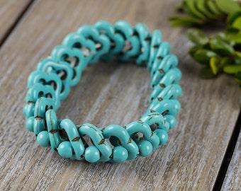 HOWLITE Bracelet - Faux Turquoise Bracelet, Healing Stone, Faux Turquoise Bead, Stretch Bracelet, Howlite Beads, Faux Turquoise Stone J475