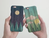 Wood Phone Case Set iPhone 6 Case Couples iPhone 6S Case Double iPhone 6 6S Plus Case Gift iPhone 5 5S Case Cute Samsung Galaxy Case cRR_02