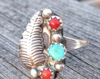 Turquoise and Coral Stone Sterling Silver Ring