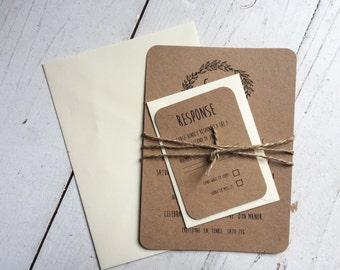 Rustic wedding invitation set, Bohemian wedding invitation, Rustic wedding, Boho wedding