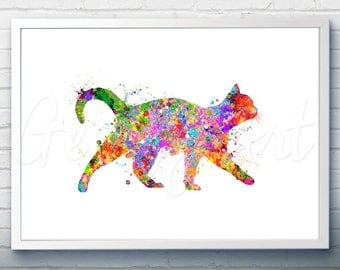 Cat Watercolor Art Print  - Watercolor Painting - Cat Watercolor Art Painting - Cat Poster - Home Decor - House Warming Gift [4]
