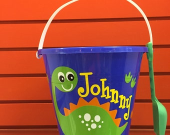 Sand pail with Dinosaur/sand Pail/ dinosaur beach Bucket/ Custom Dinosaur Beach Bucket
