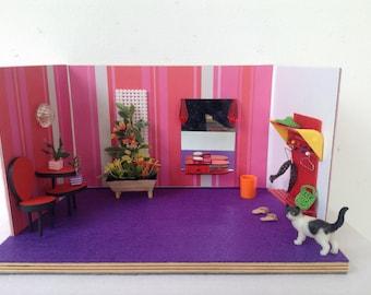 Dollhouse miniature furniture scale 1:16  Design,Handmade, sixties, vintage look, Roombox, Diorama.
