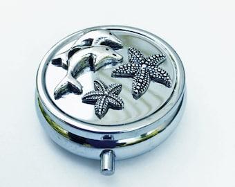Dolphin and Starfish Pill Box, Metal Pill Box Ocean