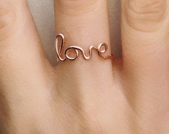 Love Rose Gold Ring, Love ring, Rose gold ring, Wire ring,  Love wire ring, Rose gold ring, Adjustable ring, Friendship ring