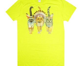 Tribal Native American Indian Cats T-shirt, Idiotsitter, Workoholics