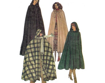 SALE Vogue 7188 80s Sewing Pattern, Size Small Women's Hooded Cape, Red Riding Hood Halloween Costume, Lined Cape, Winter Fashion