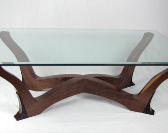 Walnut and ebony coffee table, glass top