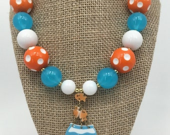 Goldfish Aqua Orange Fish Orange Polkadot Chunky Bubblegum Necklace