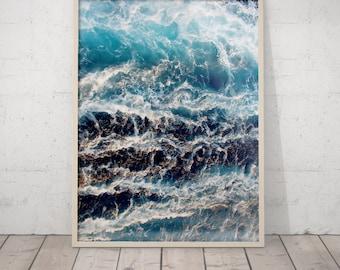 Ocean Poster, Ocean Waves Print, Wave Wall Art, Sea Printable, Ocean Wall Art, Ocean Printable Art, Navy Blue Water Print, Wave Modern Art