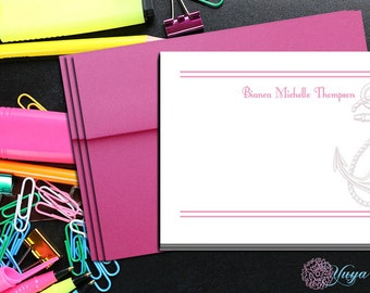 Personalized Girl Stationery / Custom Girl Stationery / Nautical Stationery Set / Custom Anchor Thank You Cards / Set of 12 girl note cards
