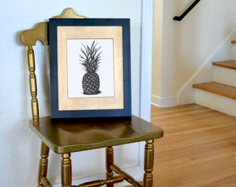 Pineapple Freehand Ink Drawing Limited Edition Print, Signed, Numbered, 8 in x 10 in