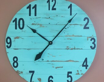 Large Teal Modern Wood Clock, Pallet Wood Clock, Reclaimed Wood Clock, Large Wall Clock, Unique Wall Clock