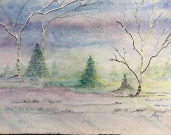 Original Watercolor: Morning Sunrise