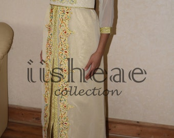Gold and cream Moroccan Caftan Long dress