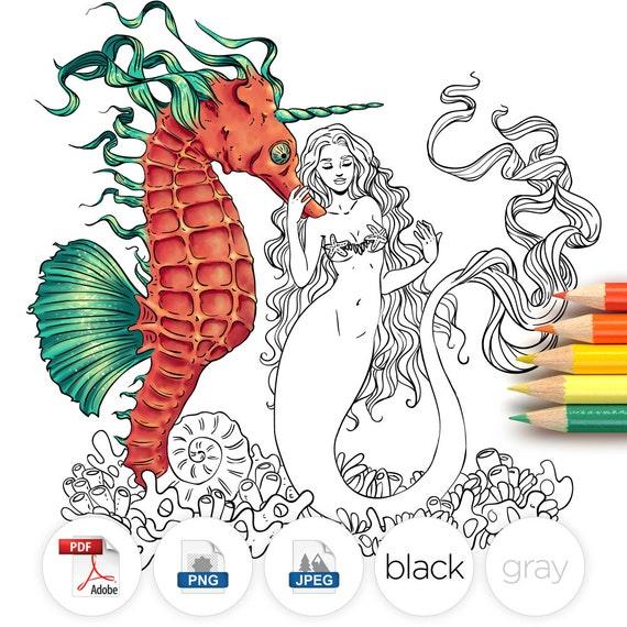 Adult Coloring Page Fantasy Mermaid Seahorse Line Art
