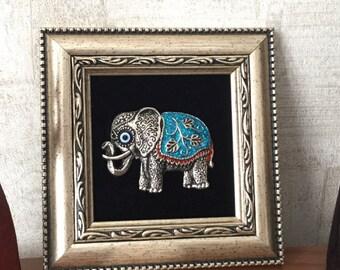 Framed wall décor - elephant wall art - evil eye wall hanging - evil eye bead - lucky elephant wall décor - evil eye home decor