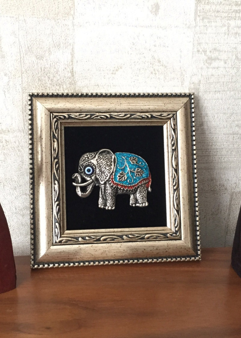 Framed wall dcor elephant wall art evil eye wall hanging zoom amipublicfo Gallery