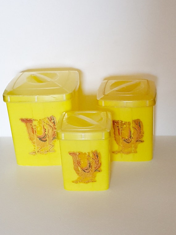 vintage kitchen canister set rooster yellow kitchen storage set