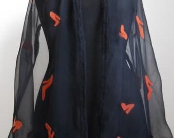 Scarf chiffon silk with shoe designs in Merino Wool