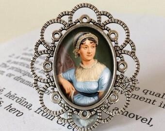 Jane Austen Brooch - Antique Silver or Vintage Bronze, Literary Jewelry, Gift For Reader, Bibliophile Brooch, Jane Austen Jewellery