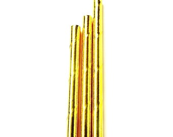 Gold Metallic Paper Straws (set of 25) - Standard Size Straw With Solid Gold Foil (19.5cm x 0.6cm)