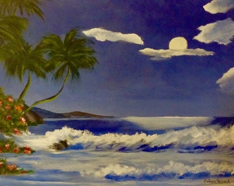 """Acrylic painting """"a night at the sea"""""""
