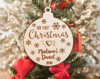 Our First Christmas Together - Christmas Tree Ornaments - Christmas Snowflake Decorations - Personalized Anniversary Gift - Girlfriend Gift