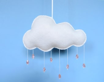 Rain Cloud Mobile with pink glass beads/ Nursery decoration