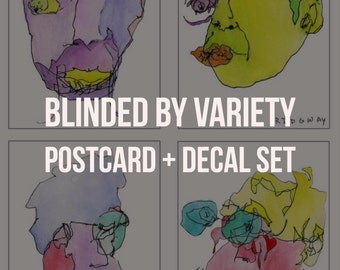 Blinded by Variety Postcard Set + Decal