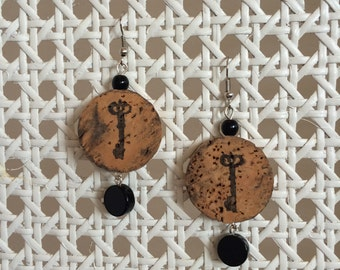SALE! - Champagne Cork and Key Earring - round black bead