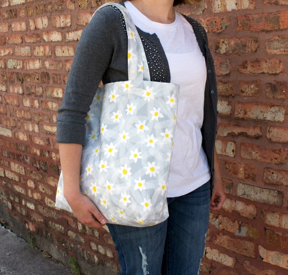 """Handmade """"Lazy Daisy"""" Floral Canvas Tote Bag - Linen/Cotton Fabric"""