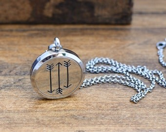 Arrows Aromatherapy Necklace - Essential Oil Diffuser Necklace - Stainless Steel Aromatherapy Jewelry - Father's Day Gift for Him