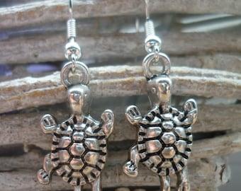 Turtle earrings, tortoise earrings, reptile keeper, animal lover, animal jewellery