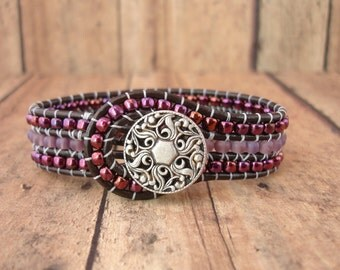 Regal Plum Leather Wrap Bracelet