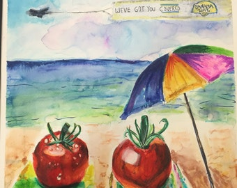 Red as a Tomato 14x14 Beach Watercolor Print