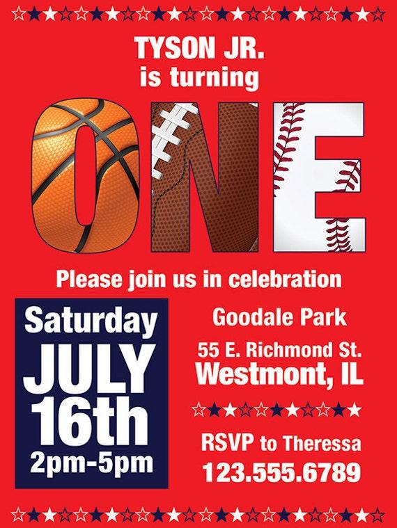 Sports Theme-Customized-1st Birthday Invitation-Digital Printable Download