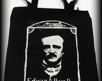 Edgar Allan Poe purse, gothic purse, horror clothing, Edgar Allan Poe, Horror Bag, Horror purse, Horror tote, The Raven, horror