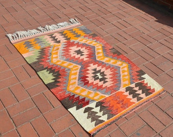 Turkish Small Red Kilim Rug 3.1x4.7ft Turkish Bohemian Kilim Rug Vintage Flatweave Kilim Rug Boho Kilim Rug
