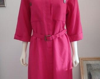 Vintage 70s 80s Henry Lee fuchsia pink dress with original belt, Hot Pink Party Dress, Retro, Unique Piece, Elegant, Evening Attire, Chic