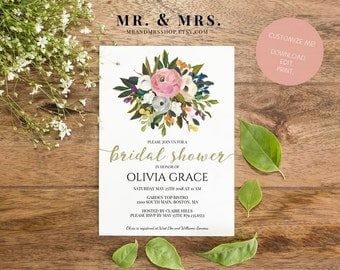 Customized Bridal Shower Invitation | Editable Bridal Shower Invite | Instant Download Watercolor Floral Bridal Shower Invitation MAM104_02