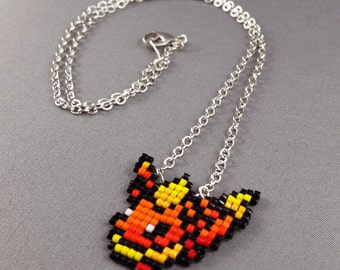 Flareon Necklace - Pixel Necklace Pokemon Necklace Pixel Jewelry 8 bit Necklace Seed Bead Neklace Video Game Necklace Eeveelution Necklace