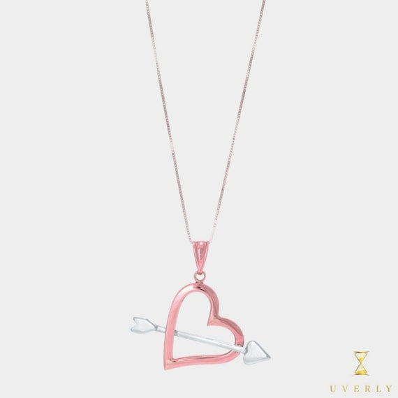 """14k Solid Rose White Gold Two Tone """"Love Collection"""" Heart Charm Pendant Chain Necklace"""