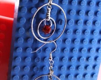 Red Lego Orbit Dangle Earrings